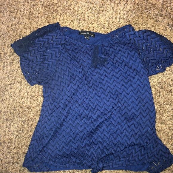 French Laundry Tops - blue dressy shirt